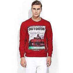 Mens Red Round Neck Sweatshirts