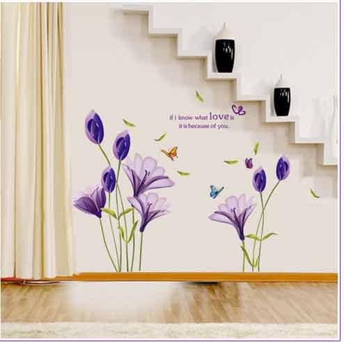 Oren Empower Oren Empower Purple lily flowers PVC Vinyl Medium Wall Sticker x 78 cm)