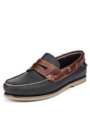 Freshfeet™ Leather Slip-On Deck Shoes with Silver Technology