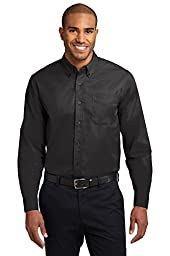 Port Authority Men\'s Long Sleeve Easy Care Shirt 6XL Black/ Light Stone