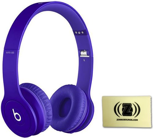 Beats Solo Hd Monochromatic Color Headphones Drenched In Purple Bundle With Custom Designed Zorro Sounds Cleaning Cloth