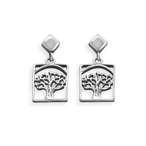 Sterling Silver Cut Out Tree Post Earrings