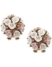 Bellofox Beautiful Pink Rose Floral Style Dailywear Stud Earring For Women & Girls