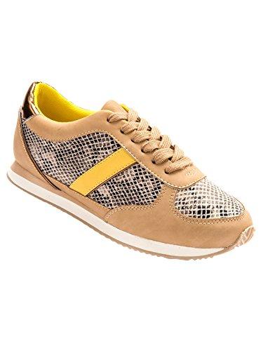Balsamik - Sneakers aspetto bimateriale - - Size : 37 - Colour : Rettile beige