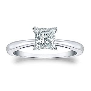 Jewel Oak 3/4 ct. tw. IGI Certified Princess-cut Diamond Solitaire Ring in 18k White Gold (G-H, SI1-SI2), Size 5.5