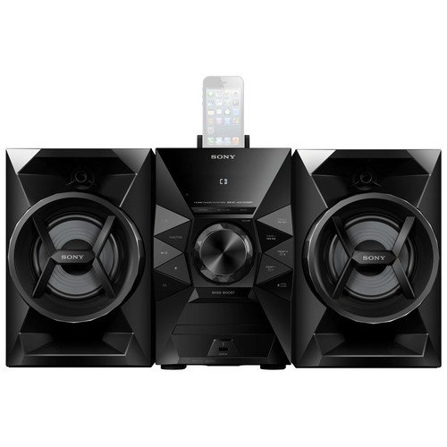 Sony 120 Watt Stereo Mini Hi-Fi Shelf System with 8-pin Lightning Dock Connector For Ipod/Iphone 2-Way Bass Reflex Speakers, Single Disc CD Player, FM Radio With 20-Station Presets, CD, CD-R/RW & MP3 Playback, Alarm Clock With Sleep And Wake Timers, Black