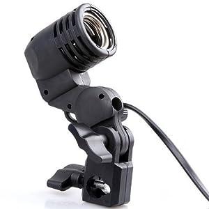 Suben Photo Video Light Lamp Bulb Holder E27 Socket Slave Flash Swivel Bracket Studio Color Black