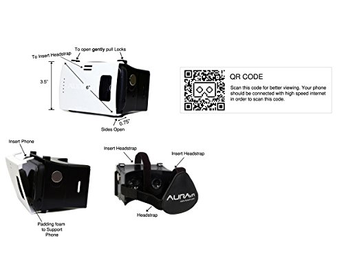 AuraVR Virtual Reality Plastic VR Headset, Supports upto 6 Inches Phones, Inspired by Google Cardboard (Black/White)