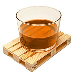 Janazala Set of 8 Miniature Pallet Wood Beverage Coasters. Drink Coasters For Wine Glasses, Beer, Whiskey, Cocktail, Hot and Cold Drinks and Other Beverages. Suitable For Bar, Home and Office