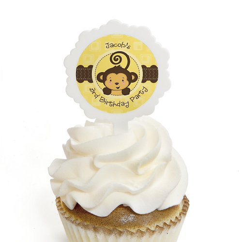 Monkey Neutral - Personalized Birthday Party Cupcake Pick And Sticker Kit - 12 Ct front-109845