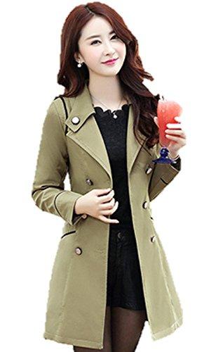 (ハスル) Hasle 上品 レディース エレガント 大人 きれいめ チェスター スプリング トレンチ コート ジャケット アウター 春 仕事 通勤 ボタン 襟 カラー サイズ 豊富 M カーキ