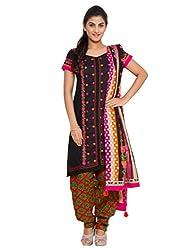 The Chennai Silks -:Black Colour Cotton Thread Embroidery Work Unstitched Dress Material- Black (CCMDM-74)