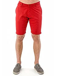 Mavango Red Basic Slim Fit Shorts for Men_M51405A18GC