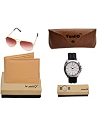 Combo Pack Of YuniiQ Beige Color Wallet With Golden Brown Aviators With Black Formal Watch.