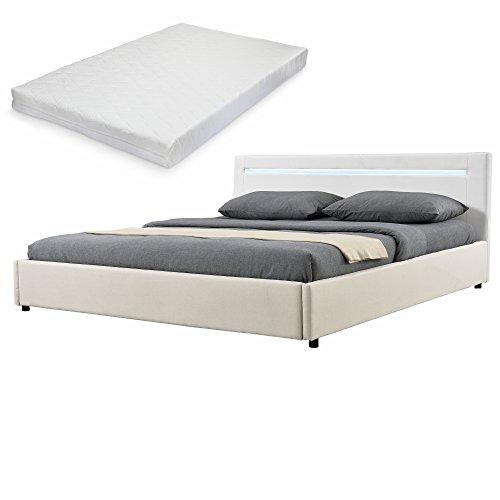 mybed-Elegantes-LED-Polsterbett-mit-Kaltschaum-Matratze-H2-140x200cm-Kopfteil-Kunstleder-wei-Fu-und-Seitenteil-Textil-creme-Bett-Doppelbett-Bettgestell-inkl-Lattenrost
