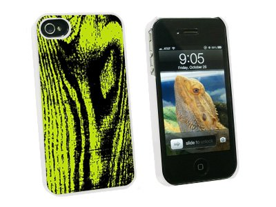 Wood Grain Green - Snap On Hard Protective Case for Apple iPhone 4 4S - White