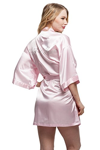ExpressBuyNow Wedding Short Kimono Robe for Bridesmaids Maid of Honor Pink S