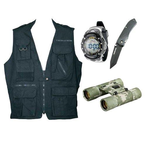 Humvee Safari Vest With Sportsmans Watch & Knife Combo + Compact Binocular