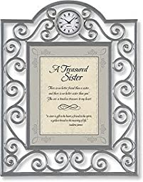 A Treasured Sister Table Clock Framed Table Clock General Verses Paper