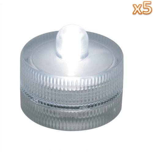Niceeshop(Tm) 5 Pcs Packaged X Submersible Battery-Operated Led Tea/Candle Light For Wedding-White