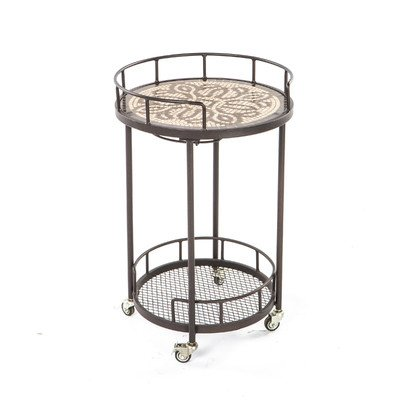 Alfresco Home 21-1312 Orvieto Indoor Outdoor Marble Mosaic Serving Cart