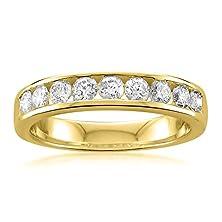 buy 14K Yellow Gold 9-Stone Round Diamond Bridal Wedding Band Ring (3/4 Cttw, H-I, Si1-Si2), Size 6