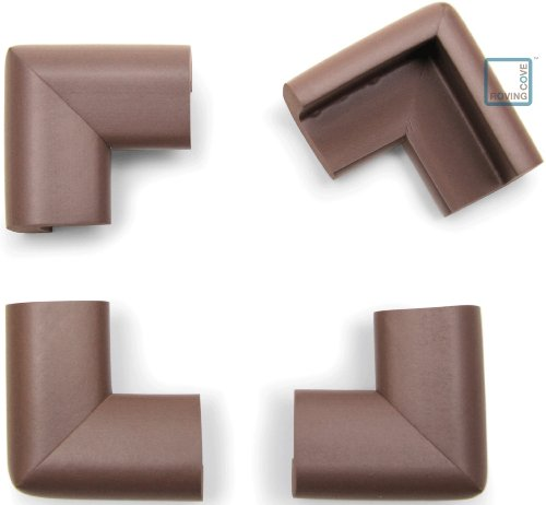 """Roving Cove® 4-Piece EXTRA PURE, EXTRA DENSE """"Safe Corner®; Cushion"""" - VALUE PACK - COFFEE; Premium Childproofing Corner Guard - Child Safety Home Safety Furniture and Table Edge Corner Protectors"""
