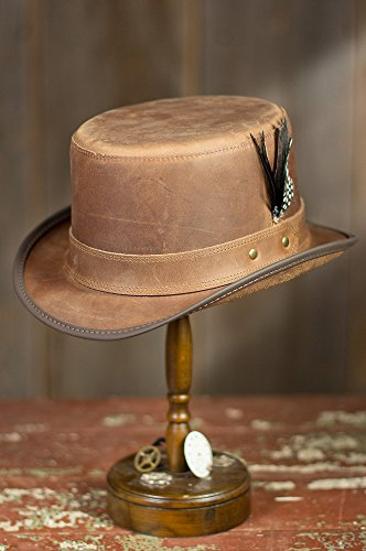 "Steampunk Leather Stoker Hat, Chestnut, Size Xxlarge (24.25"" Circumference)"