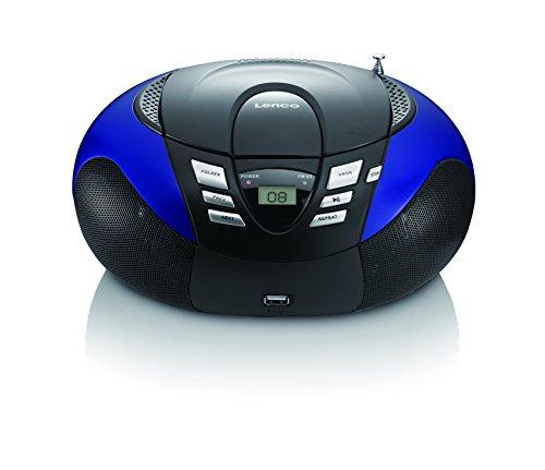 Lenco SCD-37 USB Stereo Boombox, Radio FM, CD/MP3-Player, USB 2.0, Blu