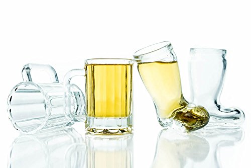 "Shot Glass Bundle - 6 Mini Beer Mug Shot Glasses / 6 ""Das Boot"" Shot Glasses / 12 Glasses Total / Free Recipe Ebook with Purchase"