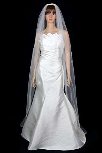 Bridal Wedding Classic Veil Ivory 1 Tier Long Chapel Length Standard Cut Edge
