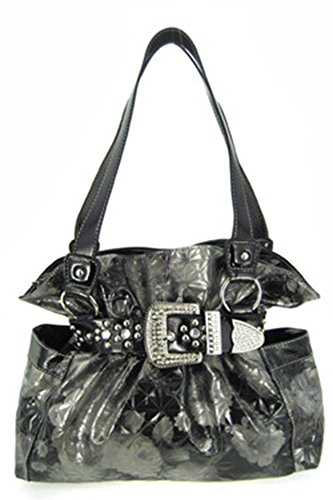 Quilted Rose Floral Rhinestone Western Buckle Belted Laminated Purse (black / silver)