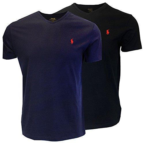 Polo Ralph Lauren Men's V-Neck T-shirt Bundle 2016 model (2pk) (Small, Black/Navy)