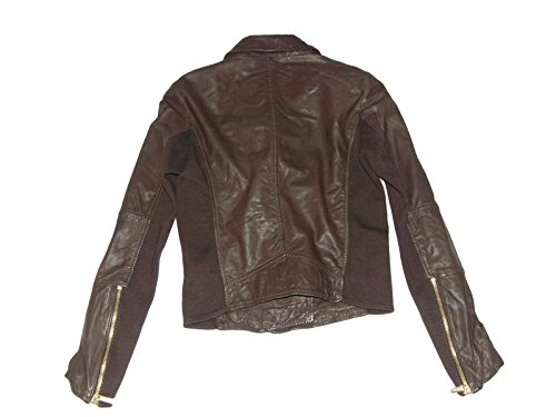 Michael Kors Cropped Leather Jacket - Chocolate Brown - Size 2