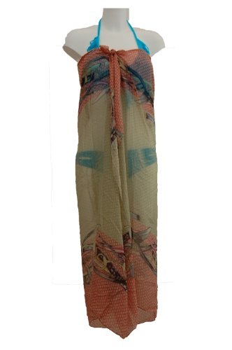 Tamari Peach and Gold Scale Print Sarong Beach Cover Up Wrap Dress For Women One Size
