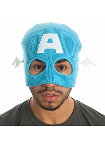 Marvel Comics Captain America Blue Half Mask Beanie