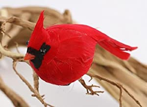 Package of 12 Bright Red Artificial Cardinal Birds for Christmas Tree Ornaments