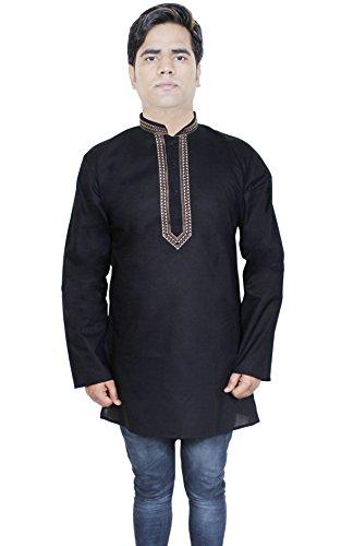 Mens Fashion Cotton Long Kurta Button Up Long Sleeve T-Shirts Tees -Size L