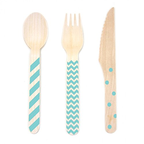 Dress My Cupcake Stamped Wooden Cutlery Set, Chevron/Striped/Polka Dot, Diamond Blue, 18-Pack