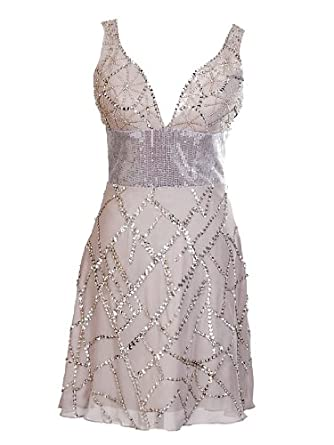 Artwedding Shining Beaded and Sequin Mini A Line Chiffon Bridesmaid Dress,Gray(as picture),26W