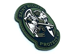 Saint Michael Protect Us Crusader Vert PVC Airsoft Velcro Patch