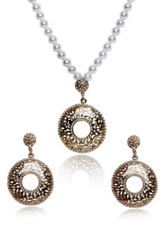 sempre 18k yellow gold plated pearl galaxy pendant