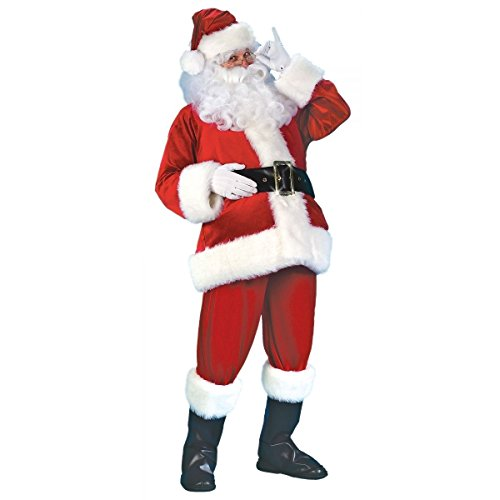 [GSG Santa Suit Deluxe Velour Christmas Costumes for Men Adult Fancy Dress] (Super Deluxe Vampires Vixen Sexy Costumes)