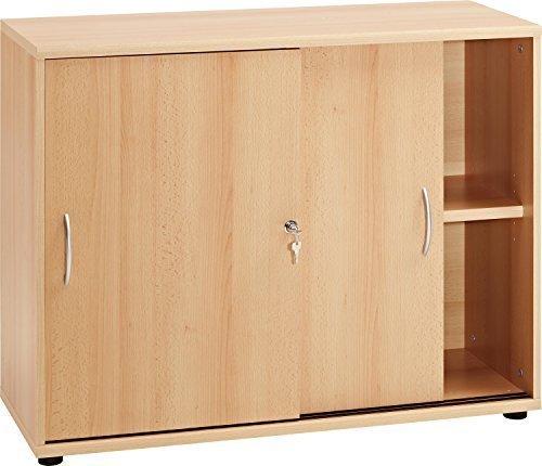 VCM-Sideboard-Aktano-470-Ordner-Schrank-mit-Schiebetren-Akten-Regal-Buche
