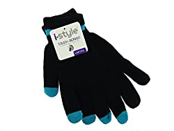 Ladies Neon Tip Touchscreen Stretch Gloves - Turquoise