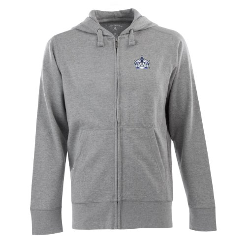 NHL Los Angeles Kings Signature Hood Long Sleeve Full-Zip Fleece, Grey Heather, Medium