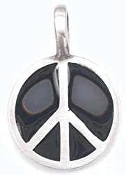 Shiny Black Peace Sign Pewter Pendant Necklace