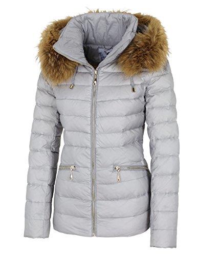 14W015 Damen Daunenjacke mit Echtfellkapuze Winterjacke Jacke mit Echtfell grau Herbst/WINTER 2015