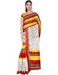 Aadarshini Women's Raw Silk Saree (110000000443, Off White & Red)