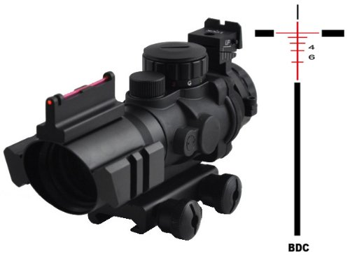 Tactical Scope With Fibe Optics And Rear Sight And Etched Bdc Glass Reticle